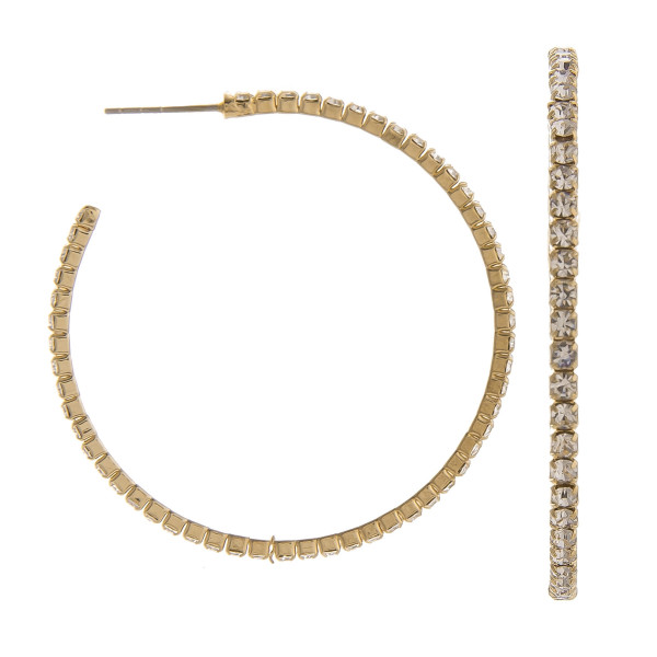 "You won't go wrong with these gorgeous hoop earrings. Gives that perfect Bling!  Approximate 1.5"" in diameter"