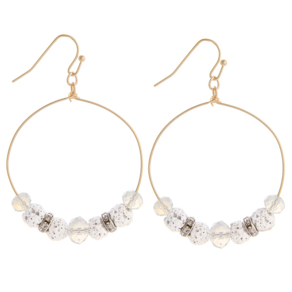 """Gorgeous gold beaded hoop earrings. Approximate 1.5 in length and 1"""" in width."""