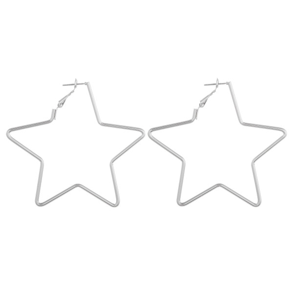 "Long metal star shaped earrings. Approximate 2.5"" in length."