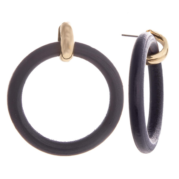 Wholesale gold post earring wood hoops Approximate diameter