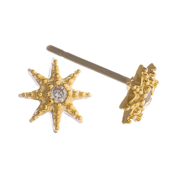 """Stud earrings with middle rhinestone detail. Gorgeous for everyday wear. Approximate .5"""" in length."""