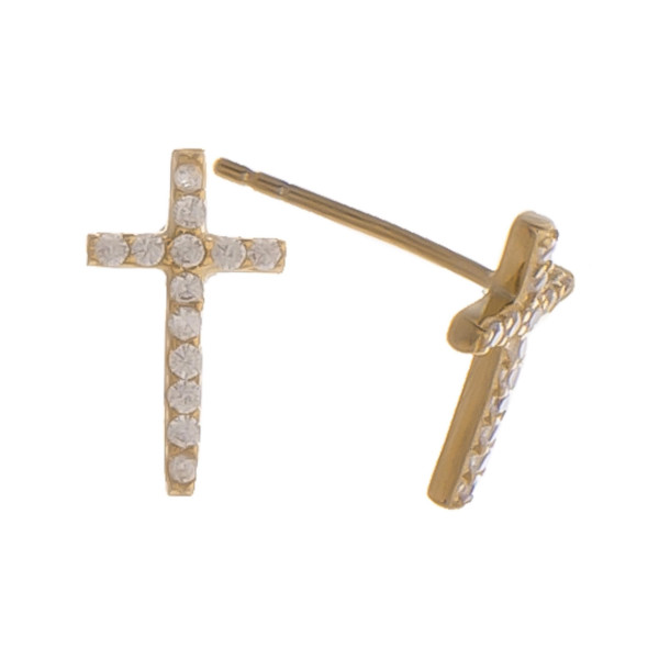 """Gorgeous gold dipped cross stud earring with rhinestones. Approximate .5"""" in length."""