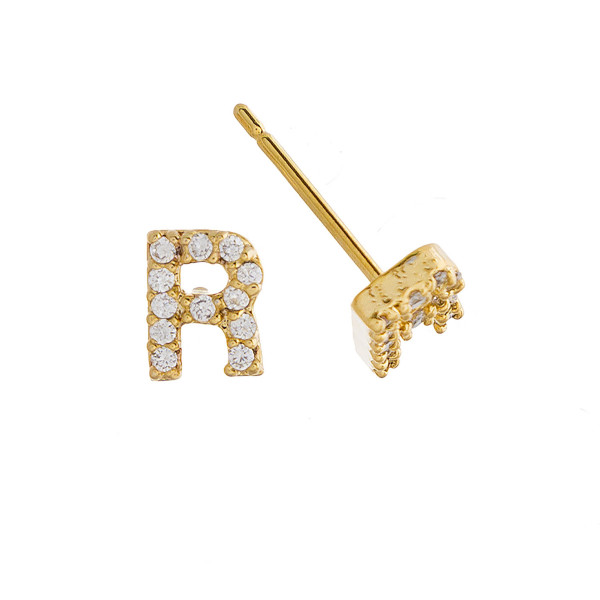 Gorgeous gold dipped initial stud earrings. Approximate .5 in length.