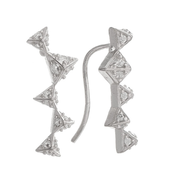 "Short earrings with triangle and rhinestones details. Gorgeous for everyday wear. Approximate 1"" in length."