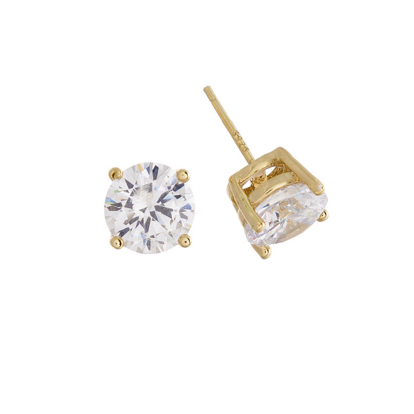 Gorgeous gold dipped cubic zirconia stud earrings.Approximate 7mm.