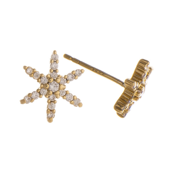 """Gorgeous gold dipped starfish stud earring. Approximate .5"""" in length."""