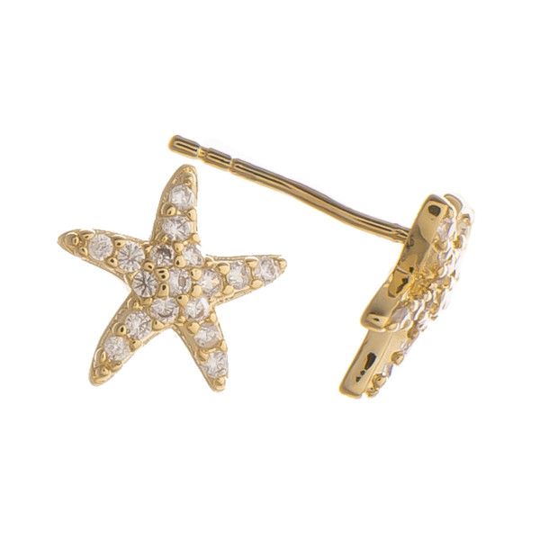 Gorgeous gold dipped stud starfish earrings. Approximate 5mm.
