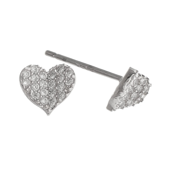 Gorgeous heart earring with rhinestones. Perfect for everyday wear. Approximate .5mm.