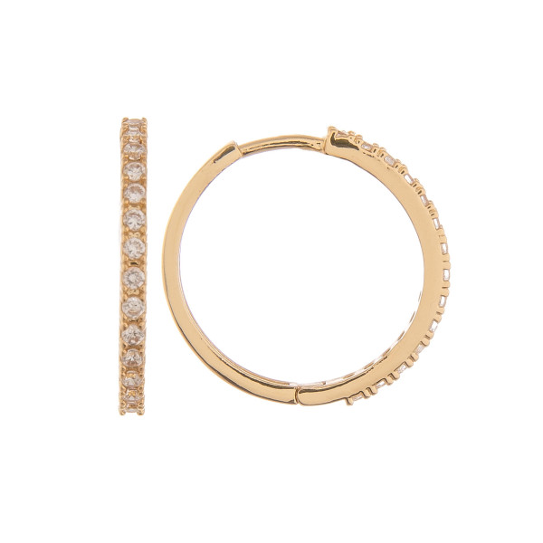 """Gold dipped hoop earrings with rhinestones. Approximate 1"""" in length."""