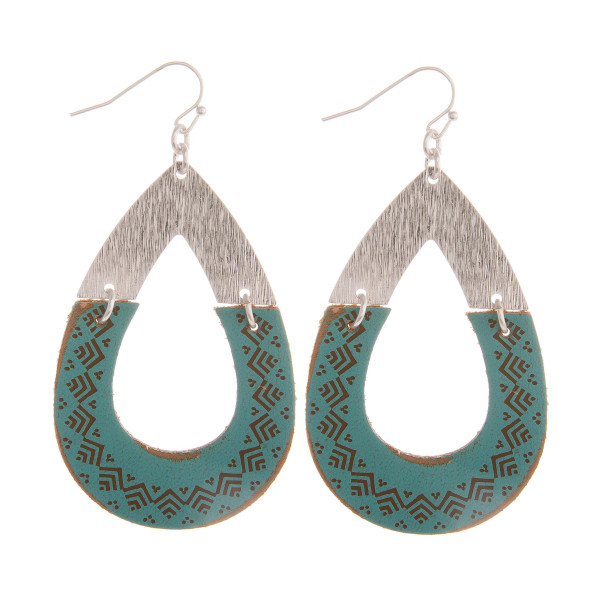 """Long drop earring with cork details. Approximate 2"""" in length."""