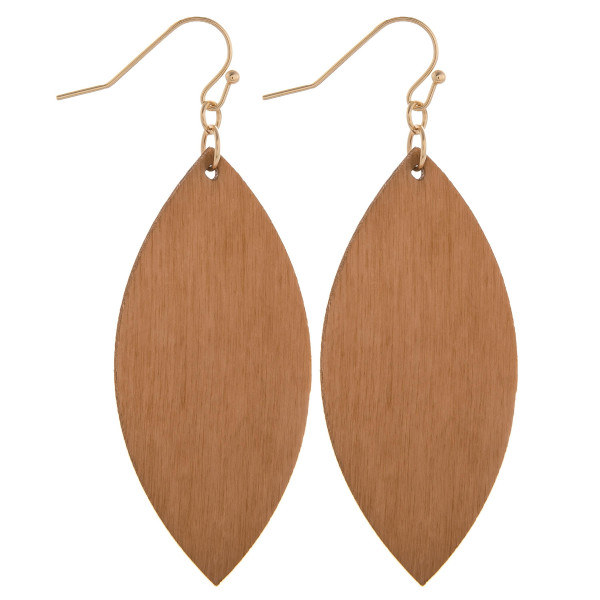 "Fishhook leaf shape wood earring. Approximate 2.5"" in length."