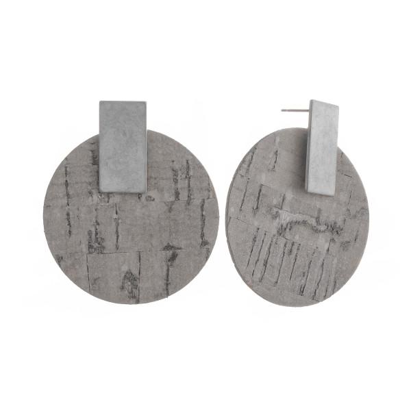 """Long hoop cork earrings with metal post. Approximate 2"""" in length."""
