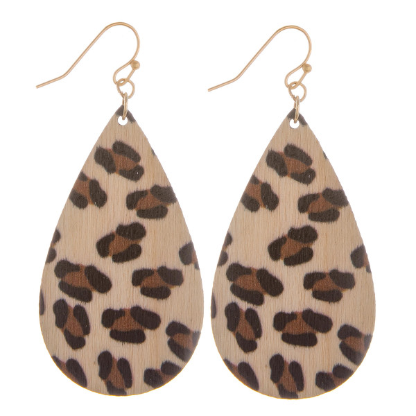 """Long wooden drop earrings with animal print. Approximate 2.5"""" in length."""