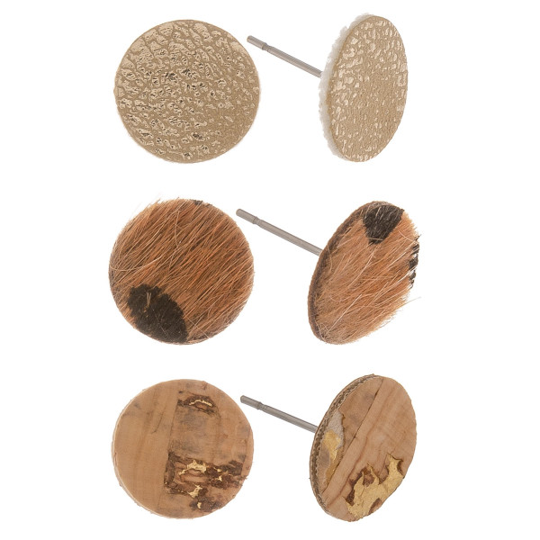 Three-pair leather and cork stud earrings. Approximate 0.5cm in length.