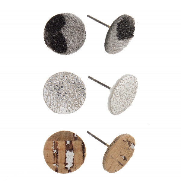 Wholesale three pair leather cork stud earrings Approximate cm