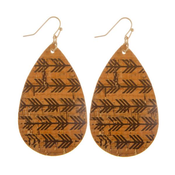 "Long drop fishhook earrings with arrows. Approximate 2"" in length."