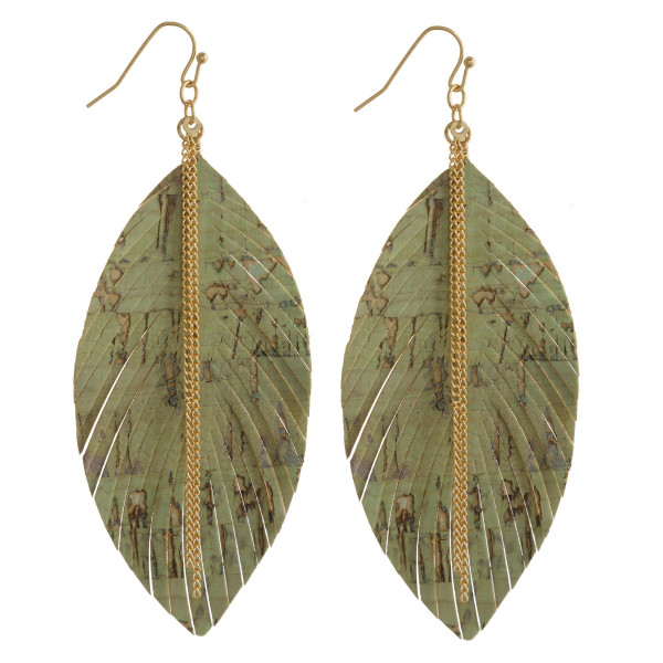 """Long leather leaf earring with metal chain detail. Approximate 3.5"""" in length."""