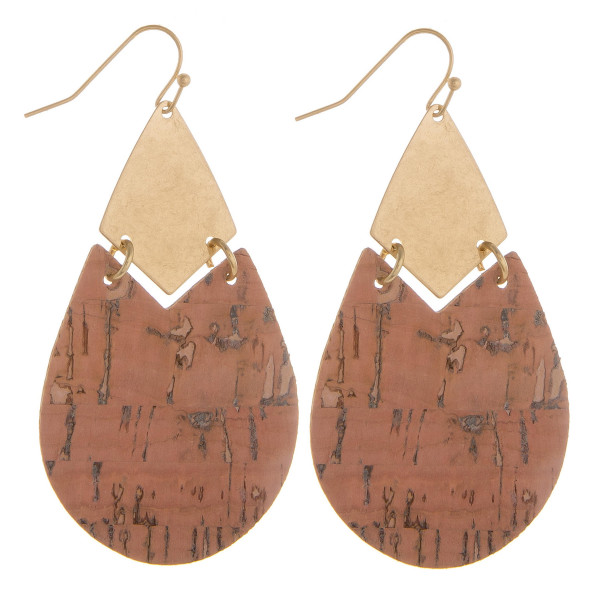 "Long cork drop earrings with metal detail. Approximate 2.5"" in length."