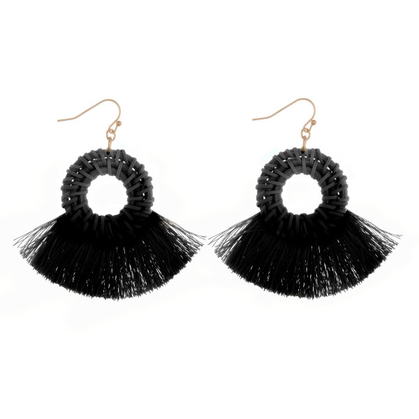 Wholesale long woven raffia tassel earrings diameter