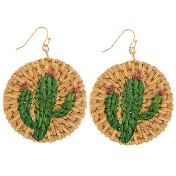 "Woven raffia earring with cactus print. Approximately 2"" in length."
