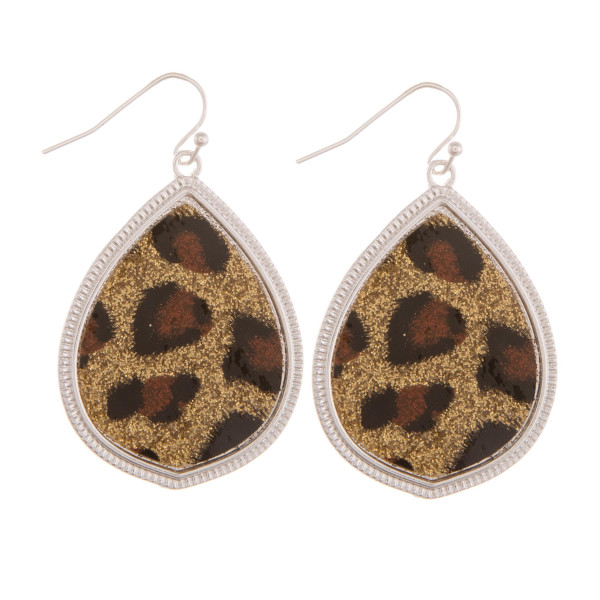 "Short teardrop earring with animal glitter detail. Approximate 1"" in length."