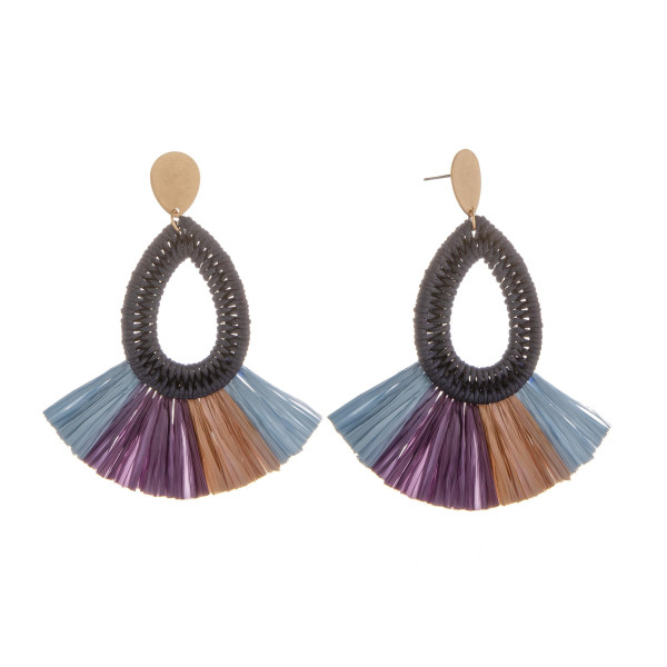 """Long metal earring covered in fabric. Approximate 3"""" in length."""