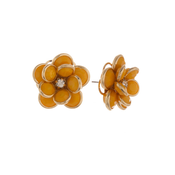 """Short stud flower earring with rhinestone.  Approximate 1"""" in length."""