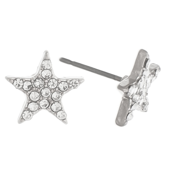 Gorgeous star stud metal earrings, with rhinestones details. Approximate .5mm.