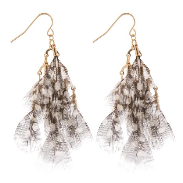 "Long fishhook feather earrings. Approximate 2.5"" in length."
