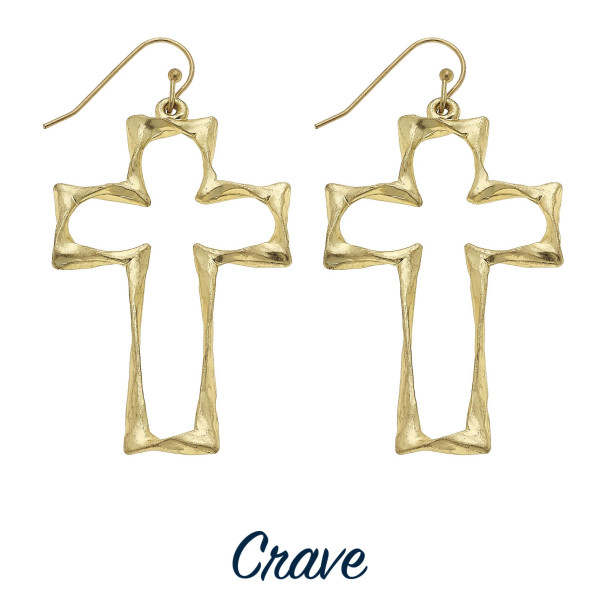 "Bold cutout cross earrings. Approximately 1.5"" tall."
