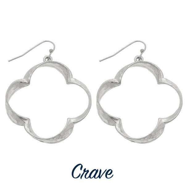 Silver tone clover / quatrefoil shaped earrings. Approximately 1.5 in diameter.