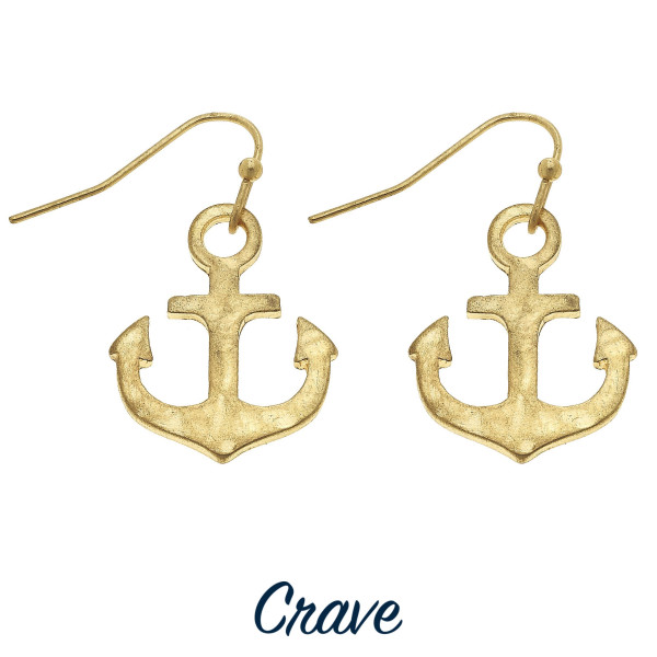 Wholesale delicate hammered metal anchor drop earrings tall