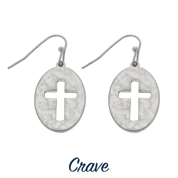 "Short oval cutout cross earrings. Approximately 3/4"" tall."