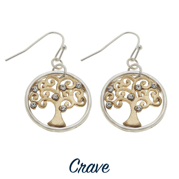 "Dainty round Tree of Life drop earrings with rhinestone details. Approximately 3/4"" in diameter."