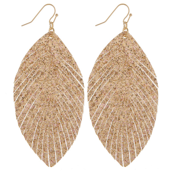 """Feather earrings with leather and glitter. Approximate 3"""" in length."""