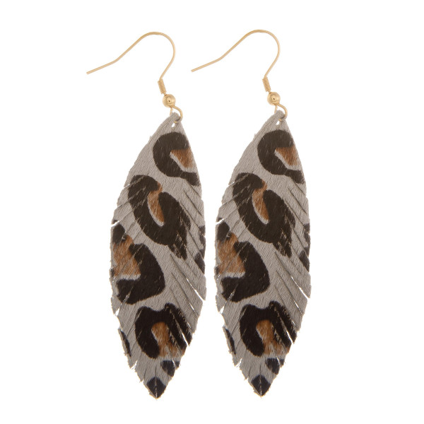 """Long leather earrings with animal print. Approximate 3"""" in length."""