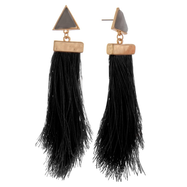 "Long tassel earring with triangle natural stone detail. Approximate 4"" in length."