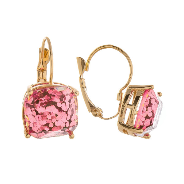 "Grab these gorgeous glitter earrings. Great for everyday wear. Approximate 1"" in length."