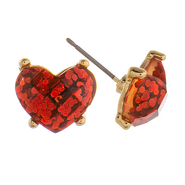 Gorgeous rhinestone heart earrings covered in glitter. Approximate 6mm.
