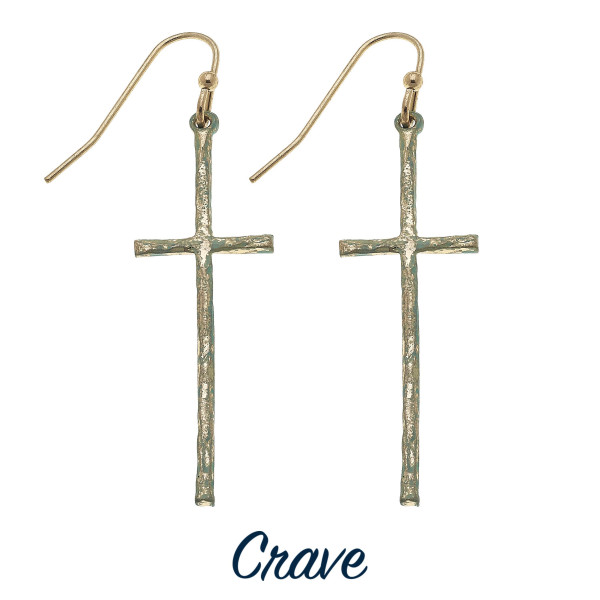 "Delicate patina finish cross dangle earrings. Approximately 1.5"" long."