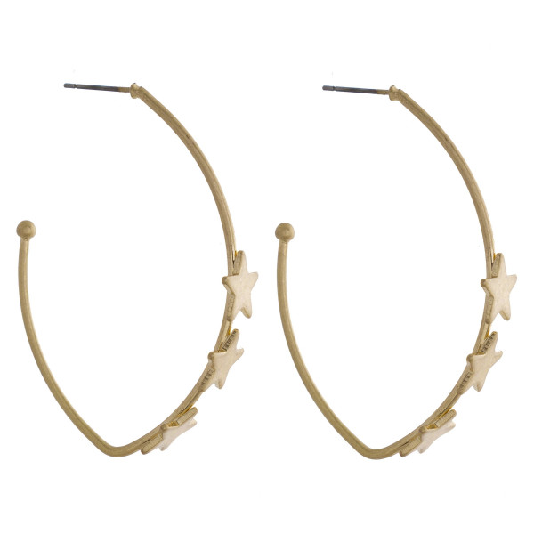 """Long open leaf earring with stars. Approximate 2.5"""" in length."""