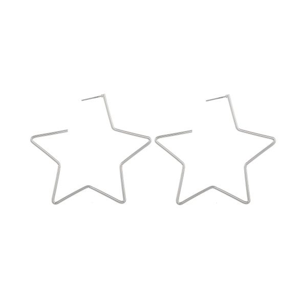 "Long metal star hoops. Measure approximately 2"" in length."