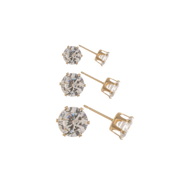 Metal stud cubic zirconia earrings. Approximate 4mm.