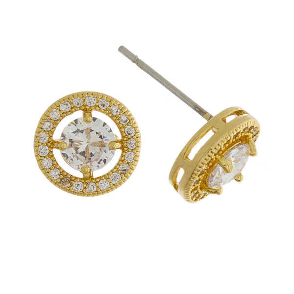 Wholesale short stud k plated gold earring rhinestone Approximate