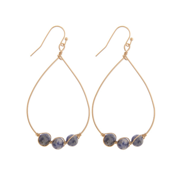 """Long drop metal earrings with natural stone detail. Approximate 2"""" in length."""