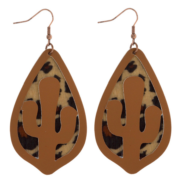"""Long leather drop earring with cactus cut out. Approximate 3"""" in length."""