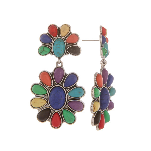 """Long metal earrings with natural stone detail. Approximate 2"""" in length."""