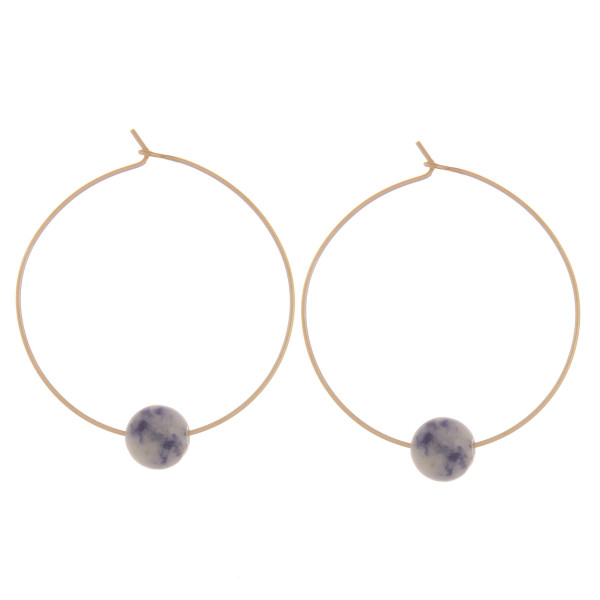 """Long hoop earrings with natural stone bead. Approximate 1.5"""" in length."""