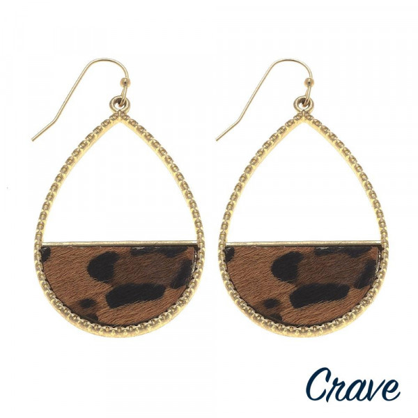"""Long metal drop earring with animal print. Approximate 2"""" in length."""