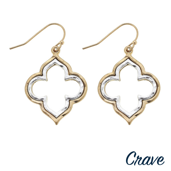 """Short crave clover metal earrings. Approximate 2"""" in length."""